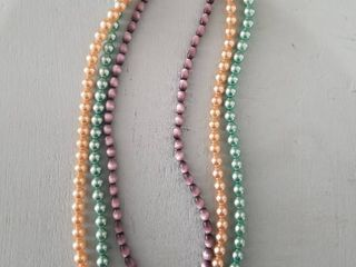 lot of Three Multicolored Faux Pearl Necklaces