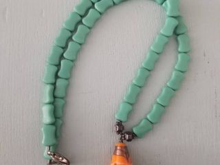 Teal with Painted Stone Pendant Necklace