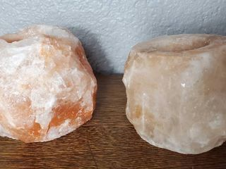 lot of 2 Pink Calcite Candle Holders