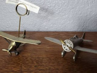 lot of 2 Small Brass Airplanes