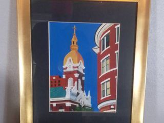 Wall Art Of  Cathedral Of Immaculate Conception  Downtown Kansas City Painting With Painted Golden Frame