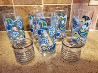 lot of 7 Glasses  5 Blue Green and Clear Water Glasses  with 2 Small Blue Striped Pair