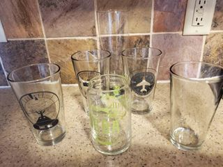 lot of 6 Bar Glasses some with Aairplane Theme  4 Beer  1 Deba and 1Tall Pilsner