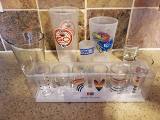 lot of Fan Pride Cups and Glasses  Cheifs   KU  Pride Shotglasses and More