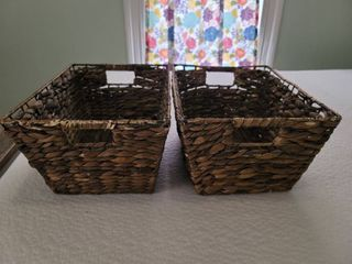 lot of 2 Wooven Decor Baskets