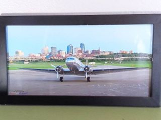 Wall Hanging Art Photography   Kansas City Sky line View From Private Airport  Speed Of Flight s With Plane