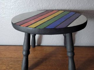 Hand Painted Wooden Pride Step Stool