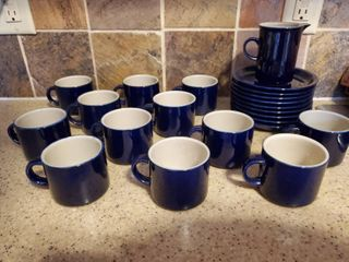 lot of 22 Blue Dishes  9 Plates  1 Creamer 12 Cups