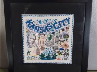 Wall Hanging Art Handmade Cross Stitch Famous Kansas City Attractions   Black Frame