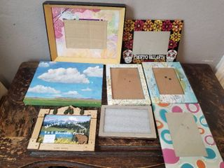 lot of Seven Picture Frames  One Cloud Painting