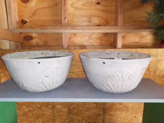 lot Of 2 large Grey Plastic Planters