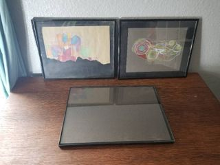 lot of Three Black Frames with Two Hand Drawn Pieces