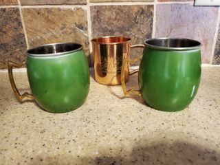 lot of 3 Vintage Cups  1 Copper  2 Green Enamel with Brass Handles