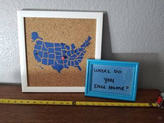 Blue Cork Board With USA and Cute Where do you call home Picture