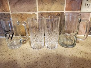 lot of 4  2 Crystal Water Glasses and 2 Freezer Mugs