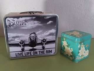 lot of 2   Modern Tin lunch Pale   The Roasterie Black And White Airplane Decal   Small Floral Tin With lid