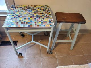 Unique Mosaic Tile Top Table with Slide Out Extension on Metal Frame with Wheels  with Stool