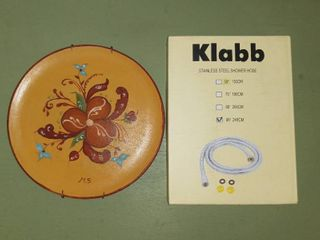 lot Of 2 Miscellaneous Home Supplies   Wooden Plate With Floral Design Art   Klabb Stainless Steel Shower Hose 96