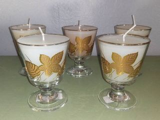 lOT OF 5 VINTAGE lIBBEY STYlE GOlDEN FOlIAGE FROSTED lEAF DESIGN