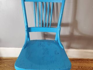 Vintage Wooden Blue Chair