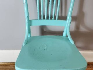 Vintage Wooden Baby Blue Chair