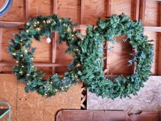 lot of 2 Flame Retardant Polyvinyl 48 Inch Wreath  1 with No lights