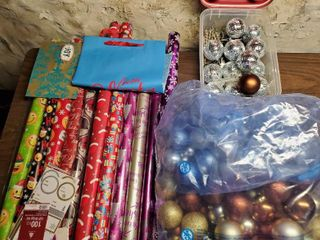 Mega lot of Christmas Decor  Wrapping Paper  Ornaments  Disco Ball Ornaments