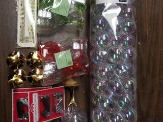 lot of Christmas Items  55 Piece Clear Ornaments  Reusable Plastic Drinkware  Three Packs of Ornament hooks  Etc