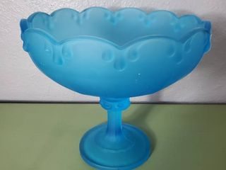 Vintage Indiana Glass Frosted Blue Glass Fruit Candy Dish