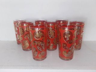lot Of 8 Vintage Tumbler Drinking Glasses   Red Paisley with Gilded Accents