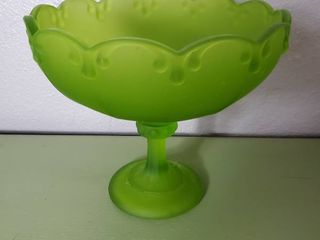 Vintage Indiana Glass Frosted Green Glass Fruit Candy Dish