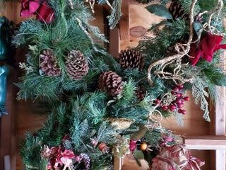 lot of 2  24 Inch Wreaths with Christmas Theme Decor on Them