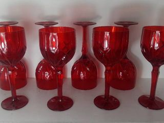 lot Of Marquis By Waterford 8 Vintage Ruby Red Tall Wine Glasses