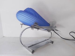 Matte Blue Glass Airplane With Metal Base Table Top Night light