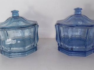 lot Of 2 Sky Blue Glass Candy Dishes With lids