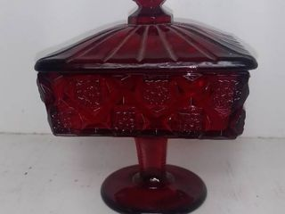 lot Of Vintage Square Ruby Red Square  Pedistal Candy Dish With lid   Daisy Design