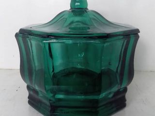 Indiana Glass Green Concord Octagonal Candy Box Dish Bowl W  lid USA