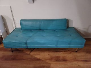 Burton and Dixie Mid Century Modern Blue leather Chaise