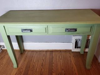 Green Table with Vintage Metal Handles   Shaved Edge