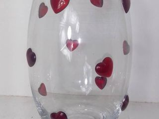 Clear Glass Vase With Decorative Glass Hearts