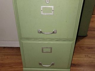 Olive Green 2 Drawer Thin Wooden File Cabinet
