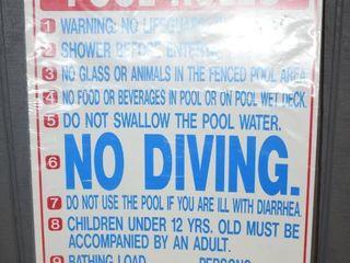 10 Plastic Pool Rules Signs 20  x 22