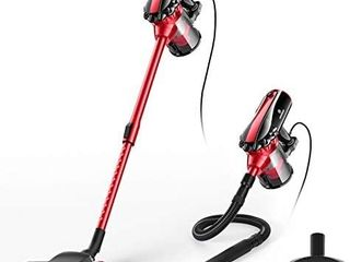 MOOSOO Vacuum Cleaner  17KPa Strong Suction 4 in 1 Corded Stick Vacuum for Hard Floor with HEPA Filters Hose  D600