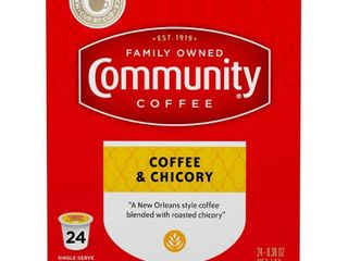 Community Coffee Coffee   Chicory Single Serve Coffee Pods    24 Count Box Compatible with Keurig 2 0 K Cup Brewers
