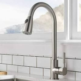 Comllen Brushed Nickel Kitchen Faucet Pull Out Spray Swivel Stainless Steel Tap