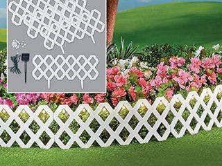 lATTICE FENCE Solar 4 Piece Outdoor Flexible Waterproof Garden Edging Border White