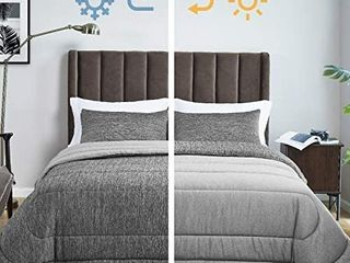 King Size Comforter Set   All Season Reversible Warm Cooling Comforter Down Alternative Bed Set   Soft 3 Pieces Set   with 2 Pillow Shams   Grey
