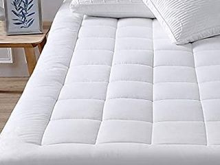 oaskys Twin Mattress Pad Cover Cotton Top with Stretches to 18a Deep Pocket Fits Up to 8a 21a Cooling White Bed Topper  Down Alternative  Twin Size