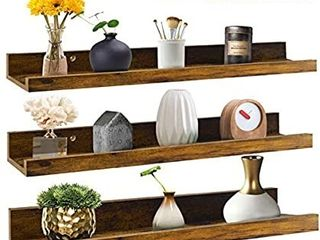 24 Inch Floating Shelves Wall Mounted Set of 3  Rustic large Wall Shelves Picture ledge Shelf for Bedroom living Room Bathroom Kitchen  3 Different Sizes