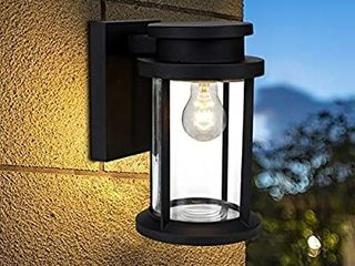 Moon Bay Outdoor Wall Down Round Pagoda light  High Volt  E26 Base Socket excl  Modern lantern Design  Die Cast Aluminum Body with Clear Glass Shade  Waterproof for Entryway Porch Doorway Black